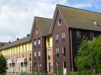 Houten huizen met puntdaken